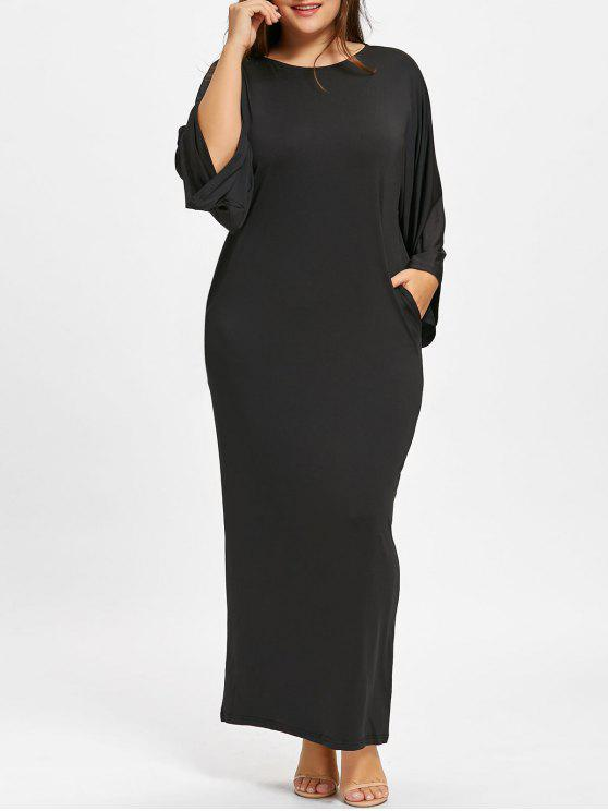 2019 Plus Size Batwing Sleeve Maxi Dress In Black One Size Zaful