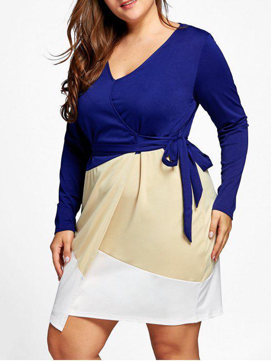 Surplice Color Block Plus Size Dress