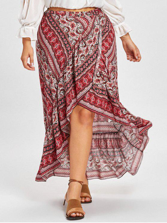 62% OFF  2019 Plus Size Bohemian Ruffle Wrap Skirt In RED ONE SIZE ... 64f4791db