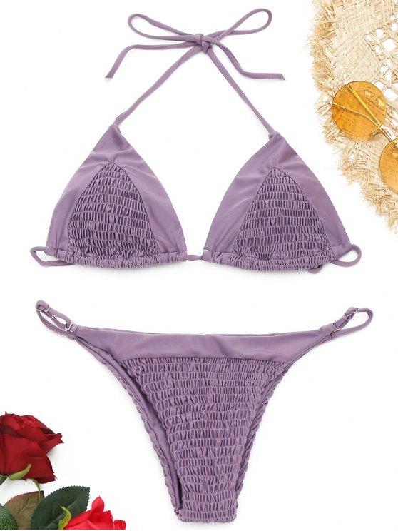 outfit Halter Smocked String Bikini Set - PURPLE S