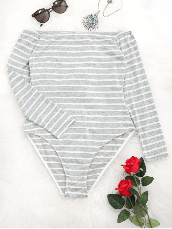 unique Long Sleeve Stripes Off Shoulder Bodysuit - LIGHT GRAY L