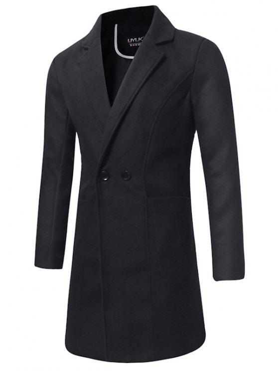 Trench-coat Long en Laine à Double Boutonnage à Col Tailleur - Noir L