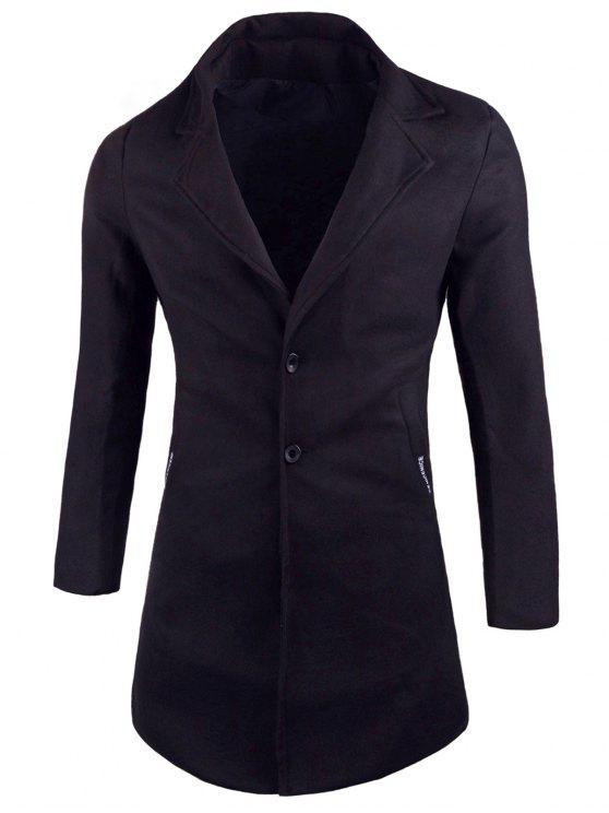 outfits Pockets Lapel Wool Blend Coat - BLACK 2XL