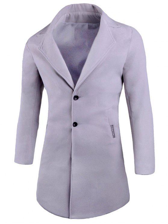 Taschen Revers Wollmischung Mantel - Grau 4XL
