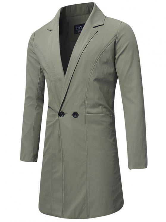Cappotto Trench A Doppiopetto Con Colletto Rovesciabile - Verde Dell'esercito 5XL
