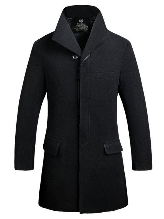 affordable Cover Placket Single Breasted Longline Woolen Coat - BLACK 3XL