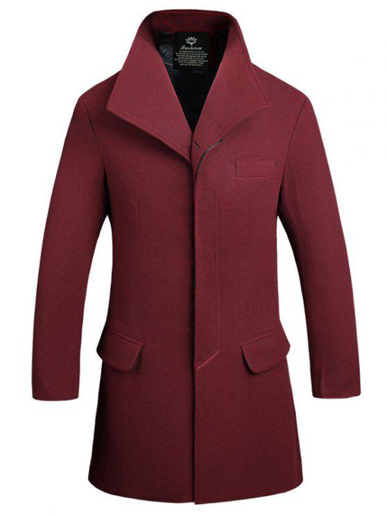 trendy Cover Placket Single Breasted Longline Woolen Coat - WINE RED L