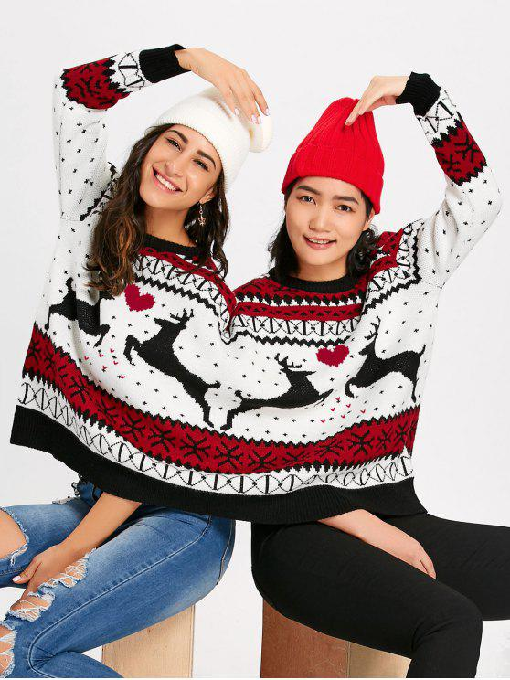 2019 Two Person Reindeer Christmas Sweater In Colormix One Size Zaful