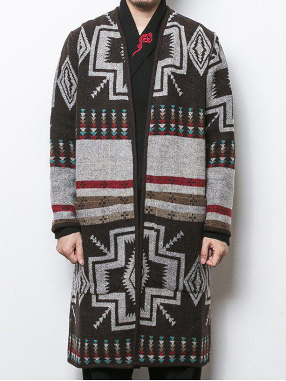 outfits Ethnic Geometric Jacquard Longline Cardigan - COLORMIX 2XL