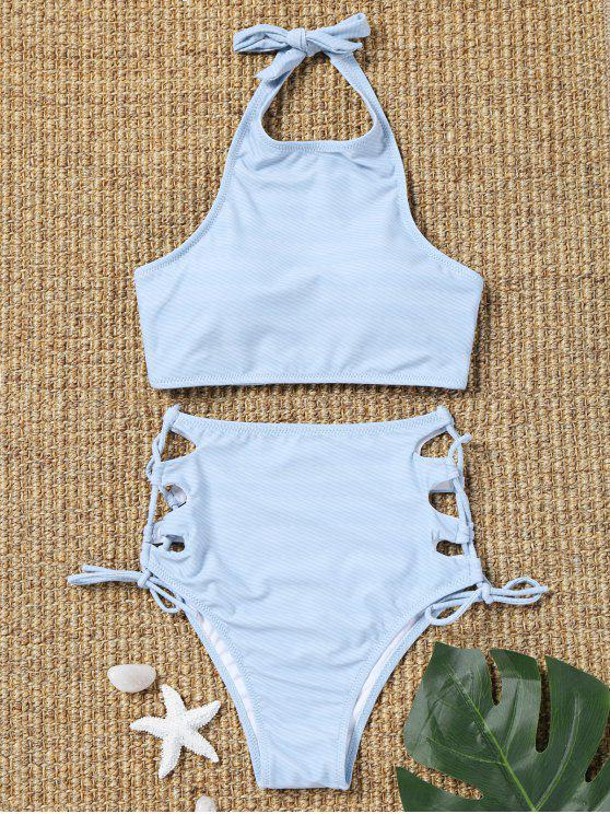 unique Side Lace Up Striped High Waisted Bikini - LIGHT BLUE L