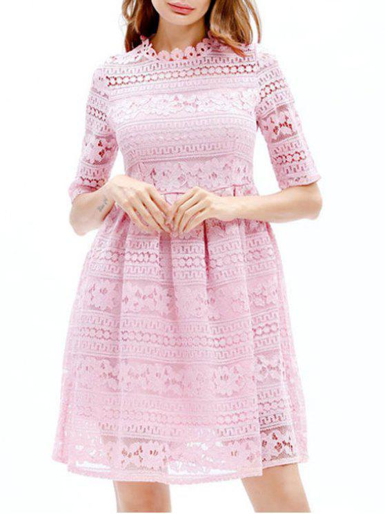 Gestickte Spitze Mini A Line Kleid - Pink M