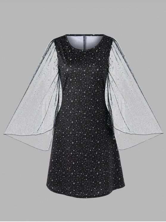 Plus Size Flare Sleeve Galaxy Dress BLACK
