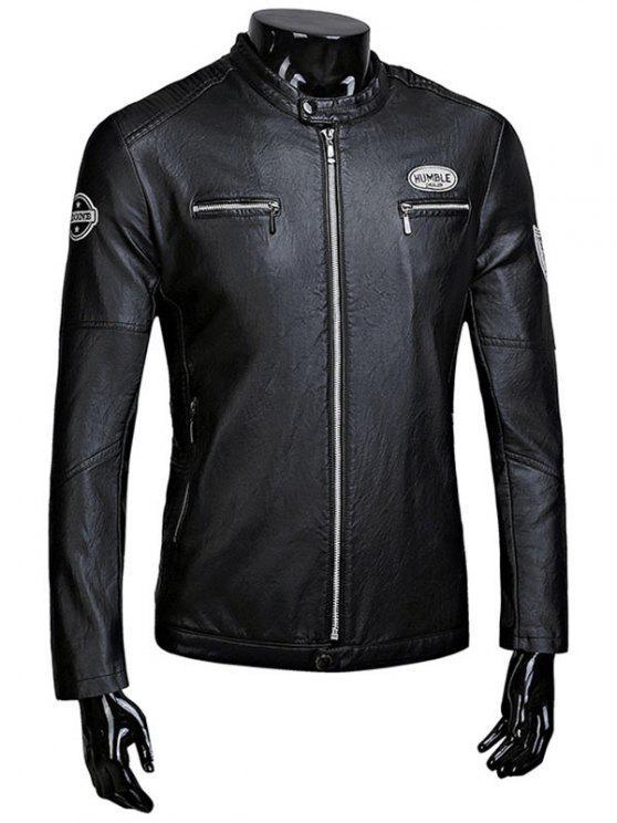 ladies Zip Up Patch Flocking Faux Leather Jacket - BLACK L
