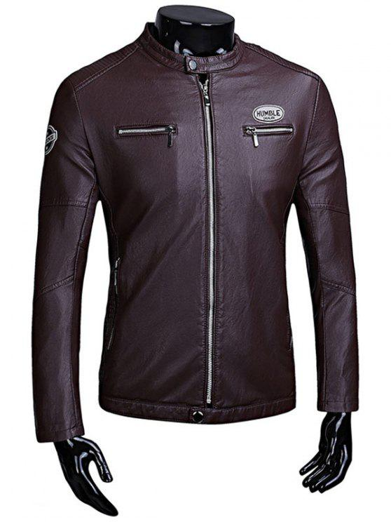 trendy Zip Up Patch Flocking Faux Leather Jacket - PURPLISH RED XL