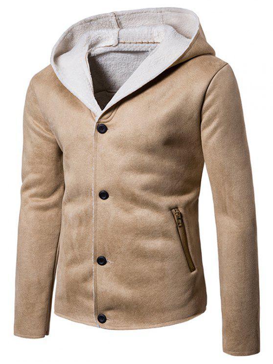 Kapuzenjacke mit Fleece-Knopf und Wildlederjacke - Palomino XL