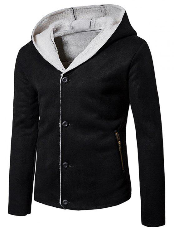 hot Hooded Fleece Button Up Suede Jacket - BLACK XL