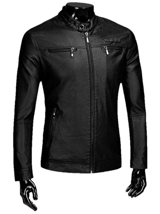 Reißverschluss Beflockung Faux Leaather Jacke - Schwarz 3XL