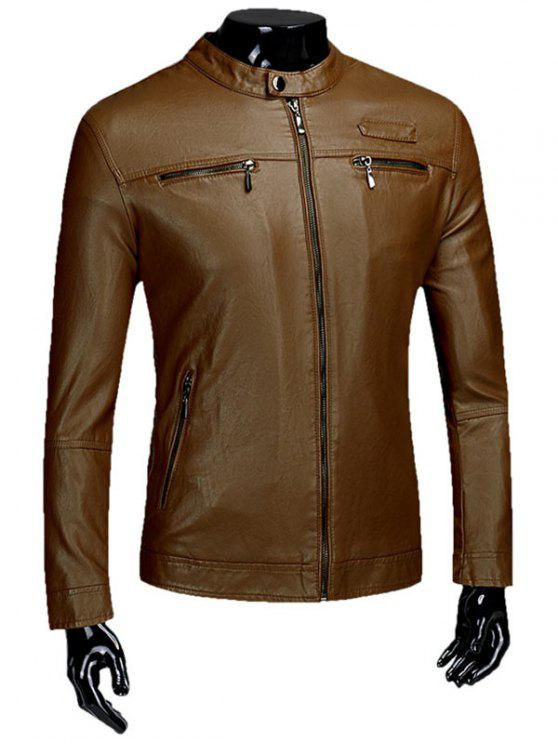 Zipper Flocking Faux Leaather Jacket - Castanho L