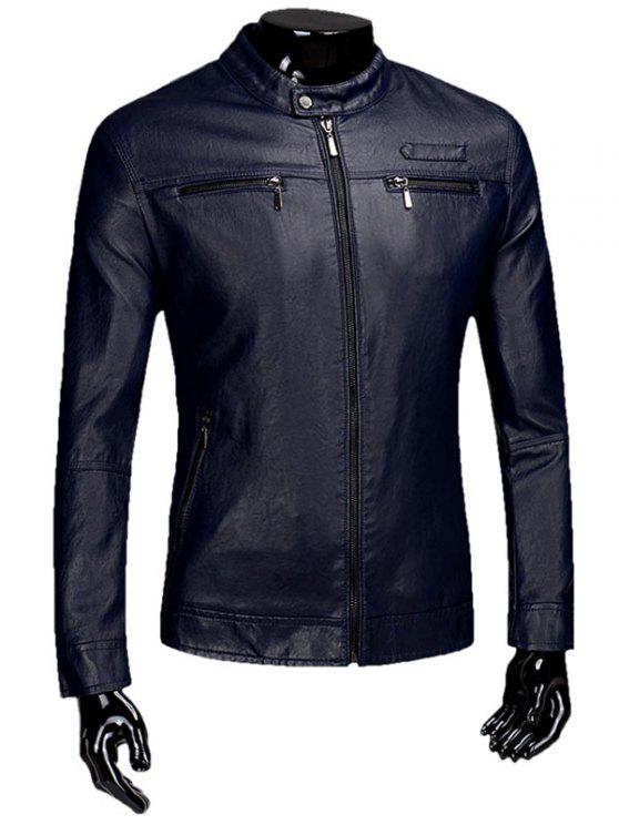 Zipper Flocking Faux Leaather Jacket - Azul Arroxeado L