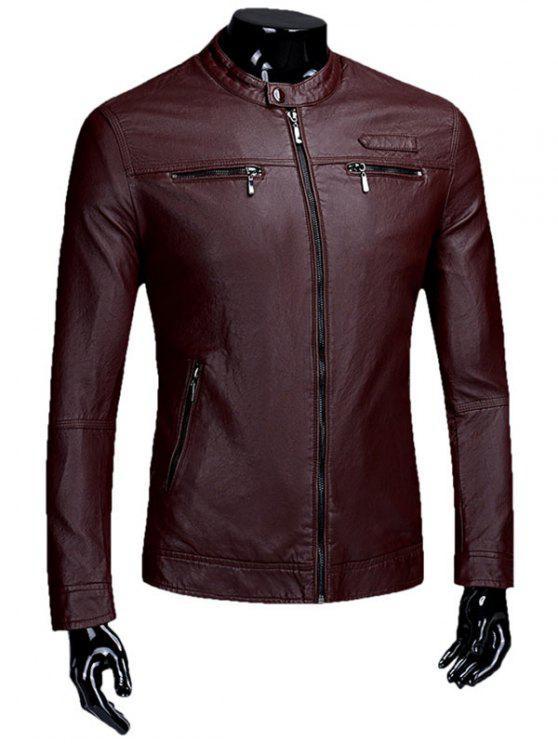 Cremallera Flocado Faux Leaather Jacket - Burdeos L