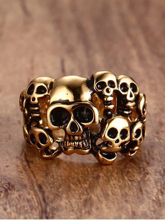 خاتم على شكل جماجم من الفولاذ - ذهبي 9
