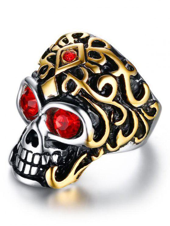 الفولاذ المقاوم للصدأ حجر الراين الجمجمة البنصر - ذهبي 11
