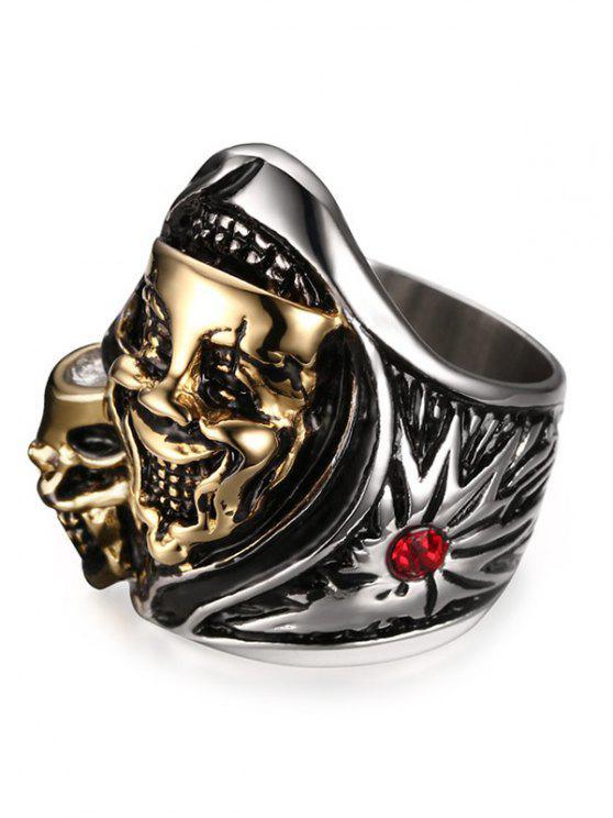 حجر الراين الفولاذ المقاوم للصدأ مضحك الجمجمة الدائري - فضية وذهبية 10