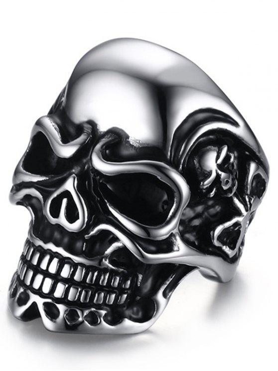 خاتم على شكل جمجمة من الفولاذ - فضة 9