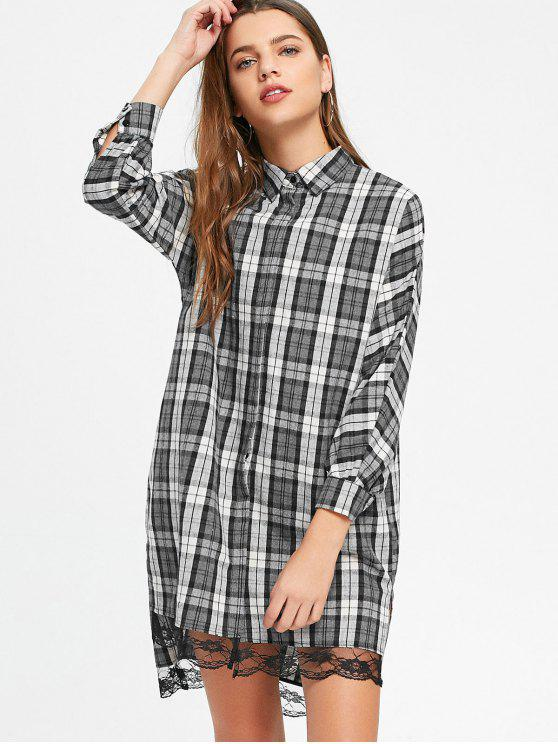 outfits Lace Panel High Low Checked Shirt Dress - CHECKED M