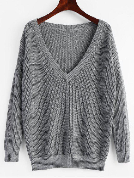Plunging Neck Plain Pullover Sweater GRAY: Sweaters ONE SIZE | ZAFUL
