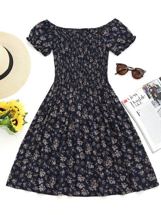 Vestito Mini Floreale Con Spalle Scoperte E Increspature - Blu Violaceo M