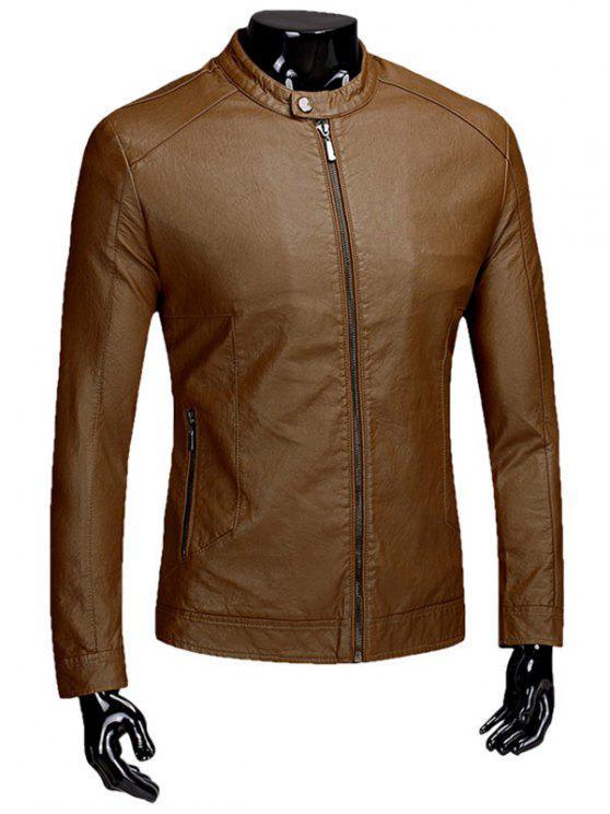 f79133950 Casual Flocking PU Leather Jacket
