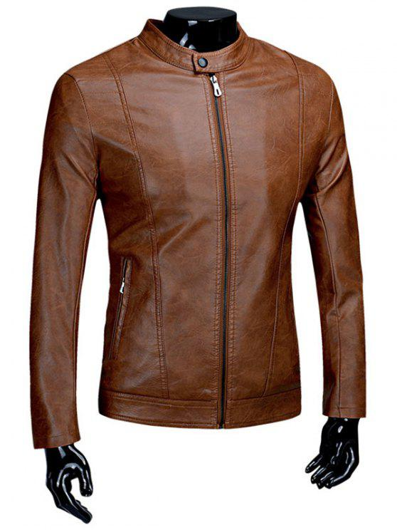 bdb2b45d6 Flocking Casual PU Leather Jacket