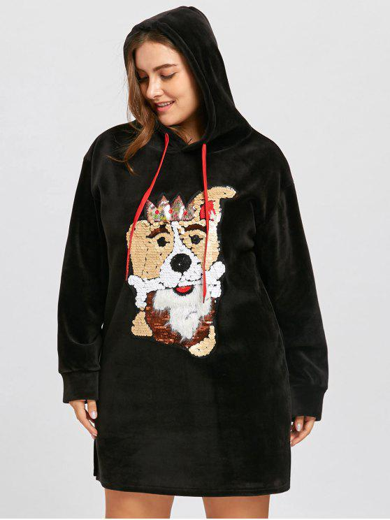 2018 Plus Size Fleece Sequined Puppy Tunic Hoodie Dress In Black One