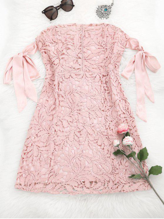 women Bowknot Tube Lace Mini Dress - PINK M