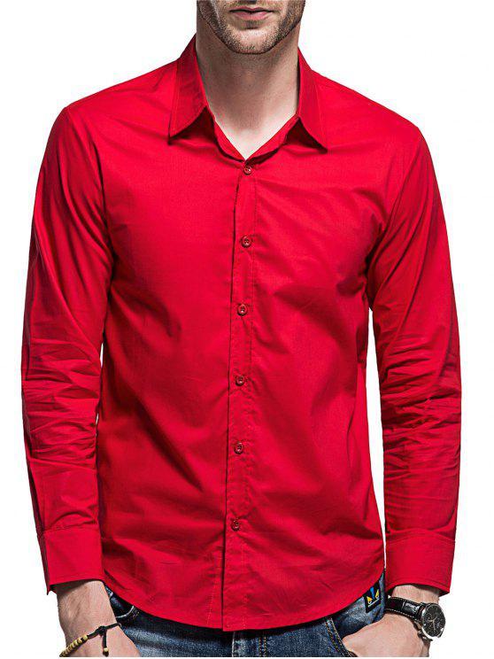 Chemise Longues Manches Moulante avec Ourlet en Courbe - Rouge M