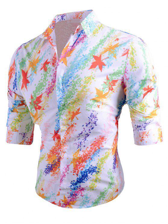 Chemise Longues Manches à Revers Coloré et Imprimée de Feuilles - Blanc L