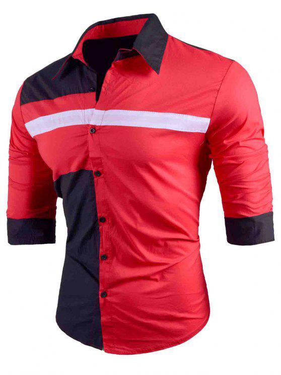 قميص بلون طويل كم طويل - أحمر M