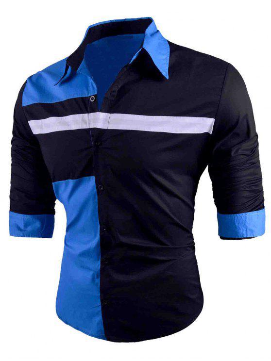 Chemise Multicolore Moulante à Longues Manches et Boutonnée - Bleu 2XL