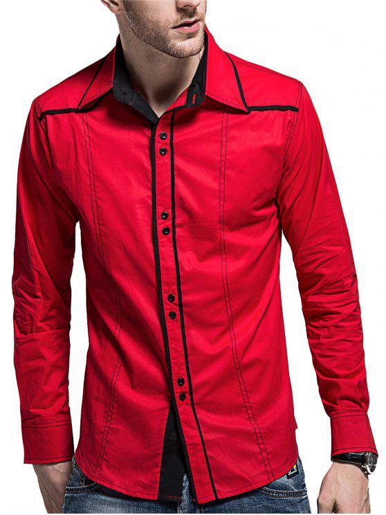 Chemise Longues Manches à Boutons et Ourlet en Courbe - Rouge 2XL