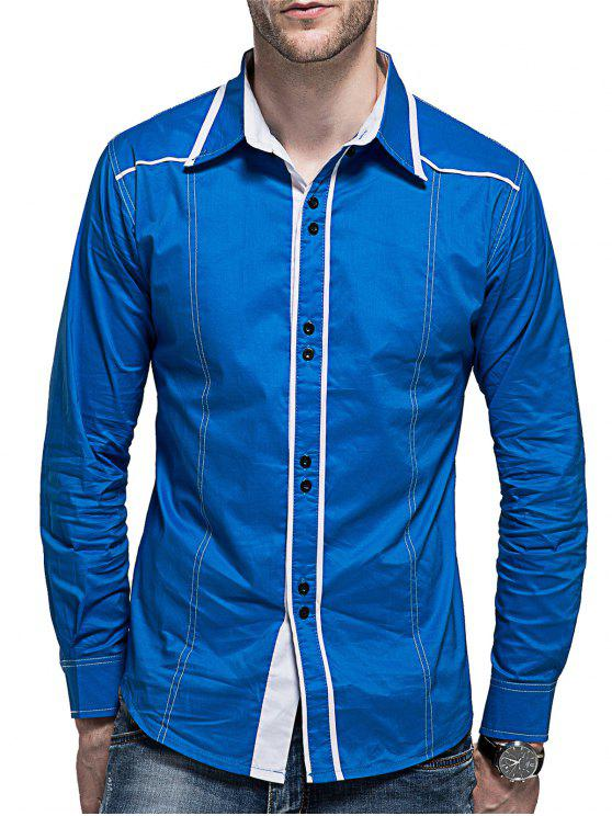 shops Curved Hem Button Long Sleeve Shirt - BLUE M