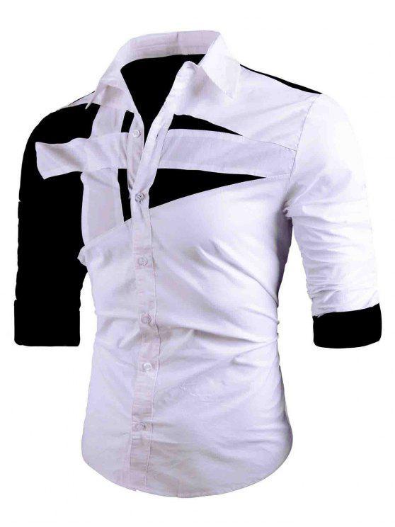 قميص رفض طوق اثنين لهجة - أبيض M