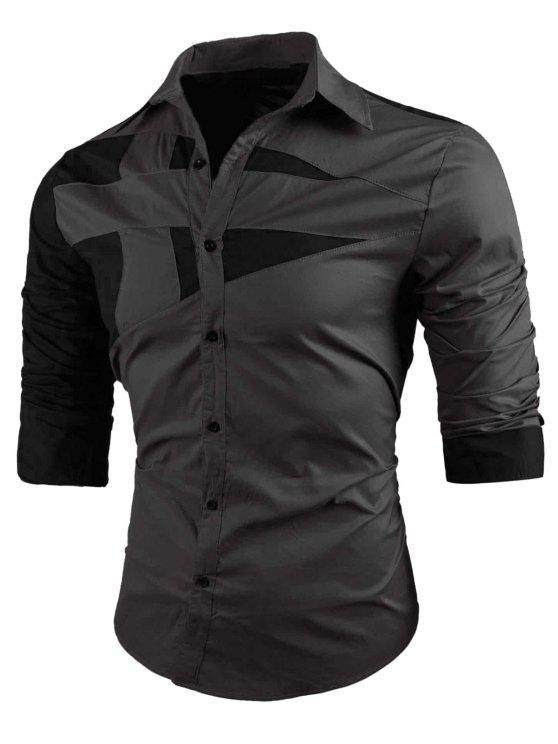 Camisa Turn-down de cuello dos tonos - Gris L