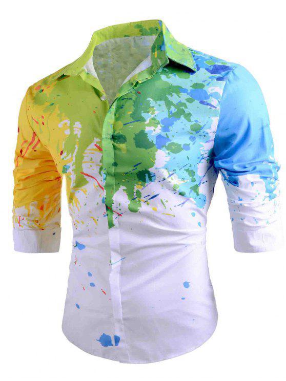 Abotone la camisa salpicadura de la pintura informal - Blanco L
