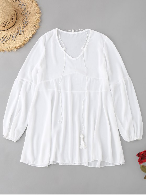 best Chiffon Cover-up Dress - WHITE ONE SIZE