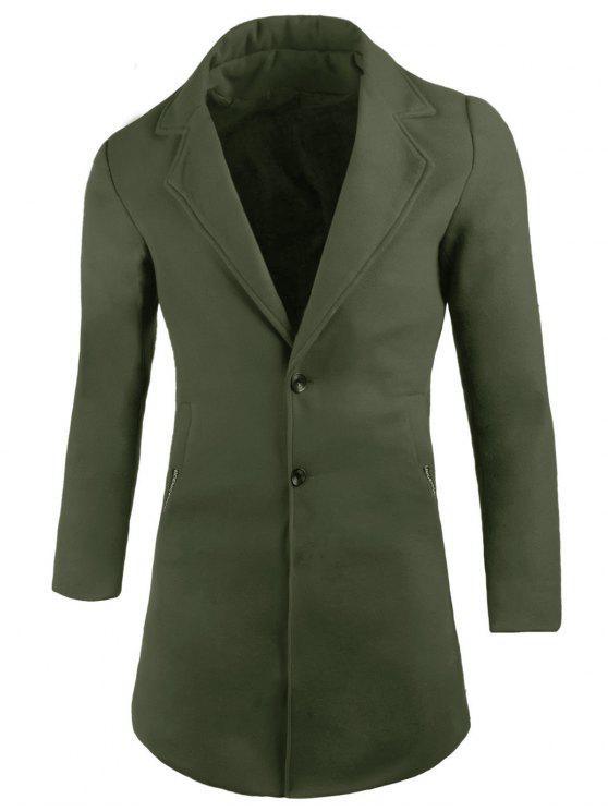 Taschen Revers Wollmischung Mantel - Armeegrün 2XL