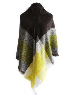 Checked Pattern Color Block Shawl Scarf - Pearl Lemon Yellow