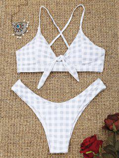 Checked Back Lace Up Thong Bikini - Grau & Weiß S