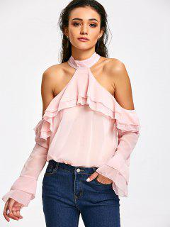 Ruffle Layered Cold Shoulder Blouse - Light Pink L