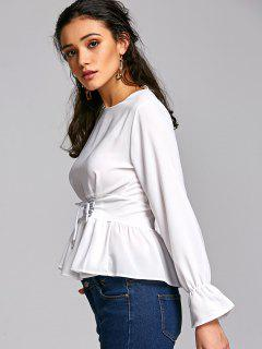 Lace Up Peplum Top - Off-white S